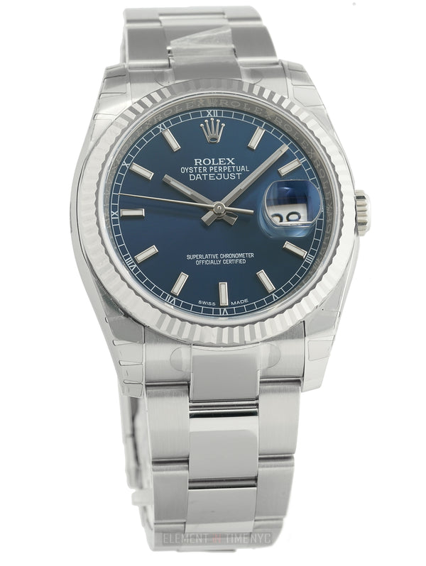 Steel 36mm White Gold Bezel Blue Index Dial Oyster Bracelet