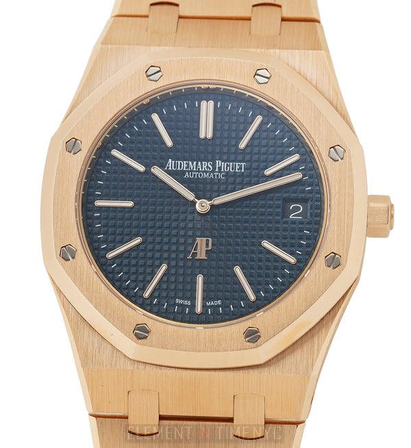 Jumbo Extra-Thin 18k Rose Gold 39mm Blue Dial