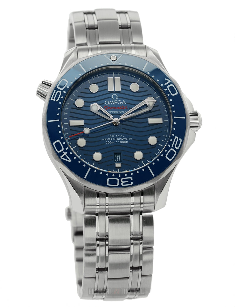 Diver 300M Ceramic Bezel Steel 42mm Blue Wave Dial Open Back