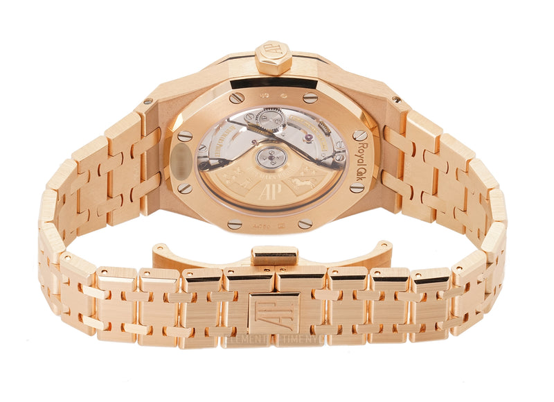18k Rose Gold 37mm Diamond Bezel Brown Dial