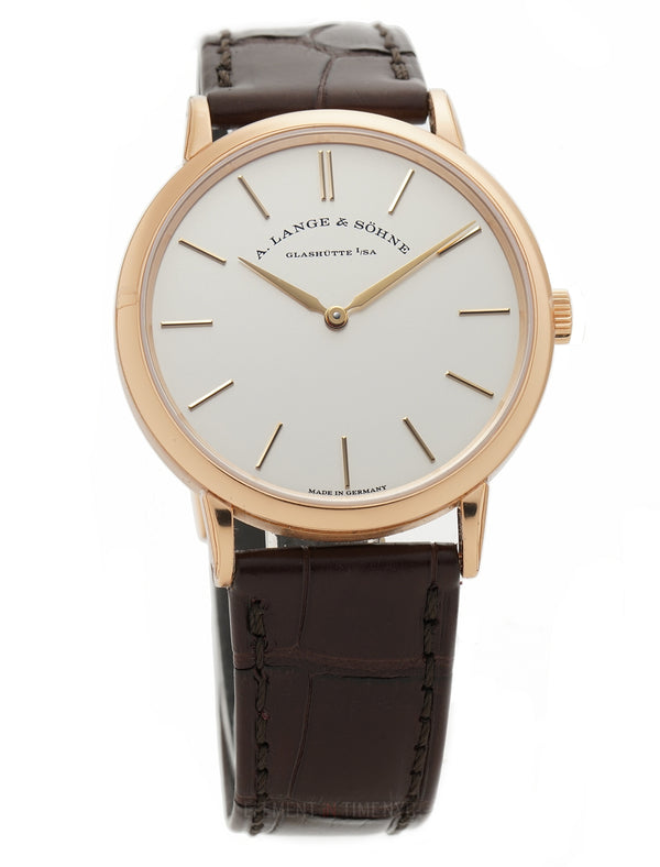Thin Manual Wind 37mm 18k Rose Gold Silver Dial