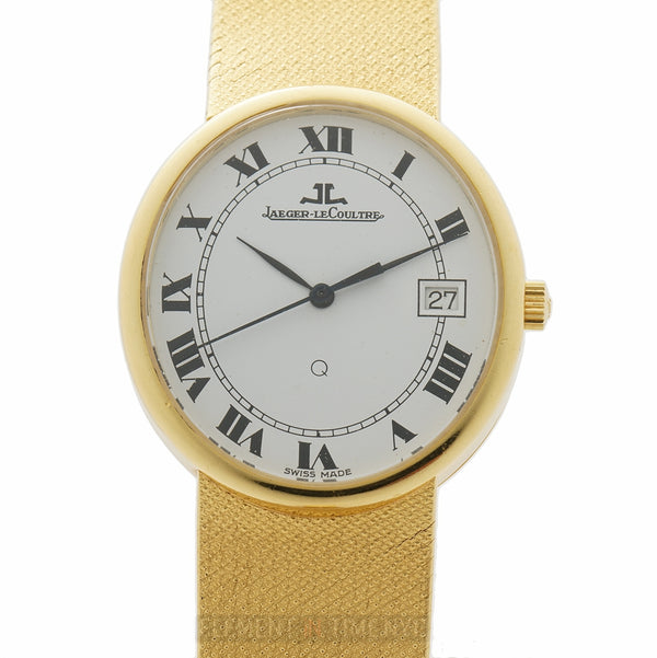 Vintage 18k Yellow Gold Oval 31mm White Roman Dial Quartz