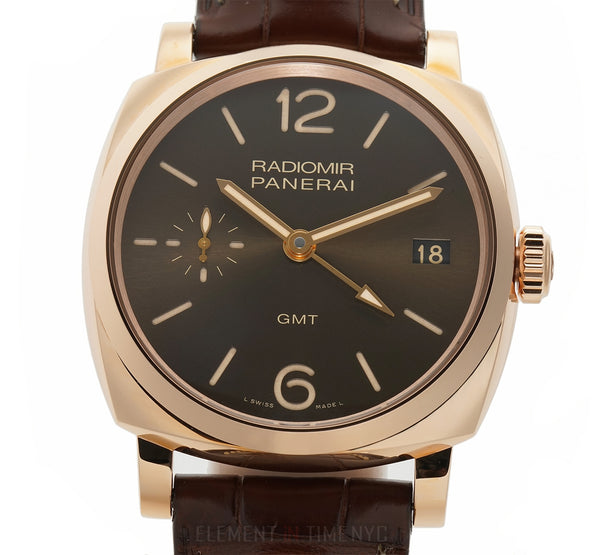 Radiomir 1940 3 Days GMT 18k Rose Gold 47mm Brown Sandwich Dial