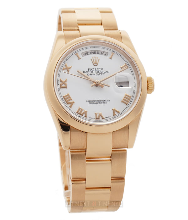 18k Rose Gold 36mm White Roman Dial On Oyster