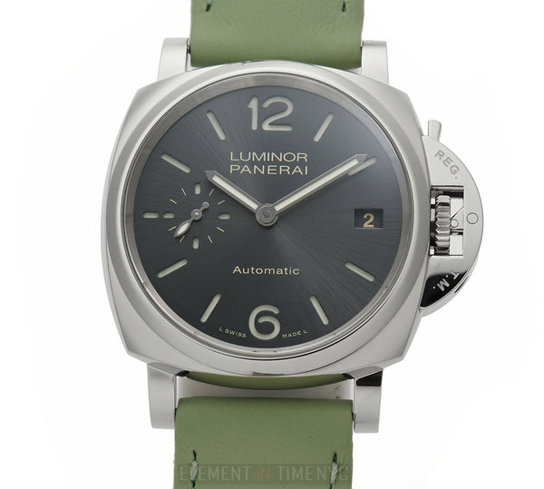 Due 3 Day Anthracite Dial Green Strap Automatic 38mm