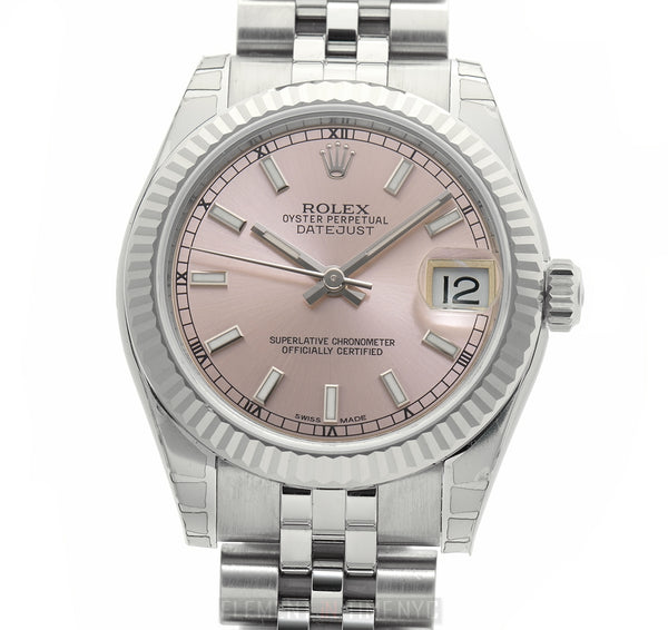 Steel 31mm 18k White Gold Bezel Pink Index Dial Jubilee Bracelet