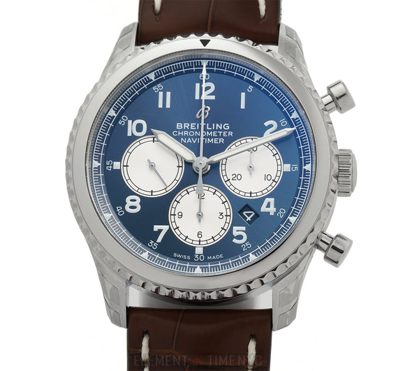Navitimer 8 B01 Chronograph 43 Steel Blue Dial On Tang Buckle