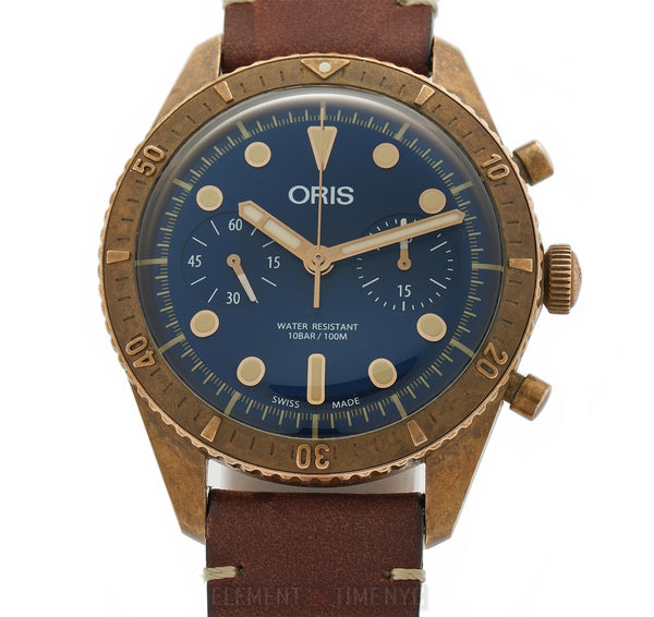 Carl Brashear Chronograph LTD ED Bronze 43mm Blue Dial Full Set
