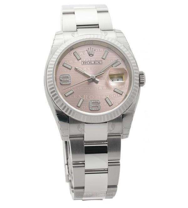 Steel & Fluted 18k Bezel 36mm Pink Wave Diamond Dial Oyster