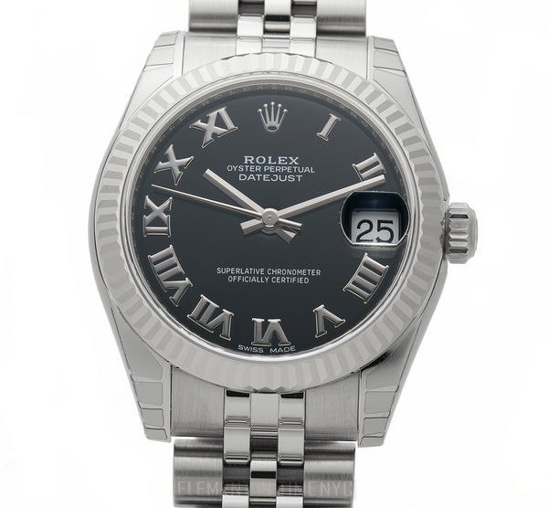 Steel 31mm 18k Fluted Bezel Black Roman Dial Jubilee