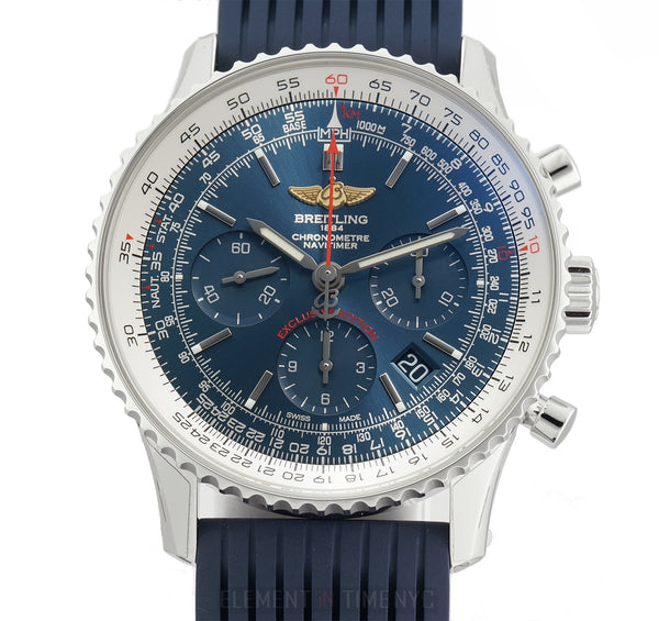 Navitimer 01 @9 Exclusive Edition Aurora Blue 43mm On Rubber Full Set 2018
