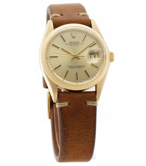 34mm Date 18k Yellow Gold Champagne T Swiss Dial Circa 1974
