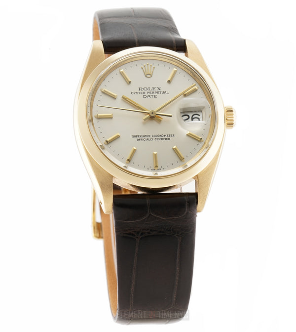 34mm Date 18k Yellow Gold Silver T Swiss Dial Circa 1976