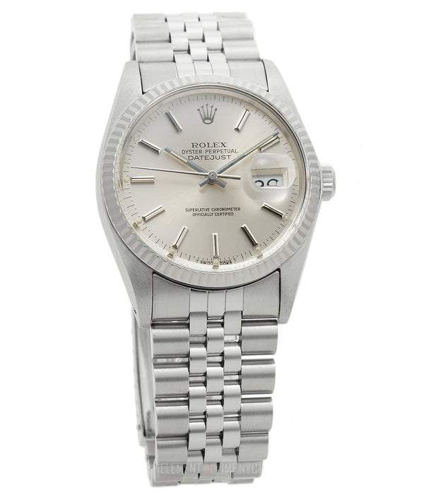 Steel 36mm 18k Fluted Bezel Silver T Swiss Dial Circa 1987