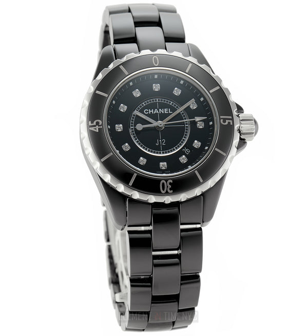 Ceramic Black Diamond Dial 33mm On Bracelet Quartz