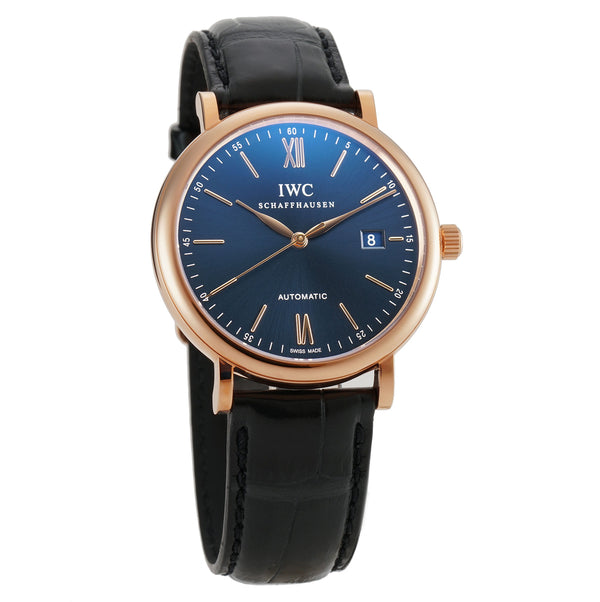 18k Rose Gold 40mm Blue Dial On Strap