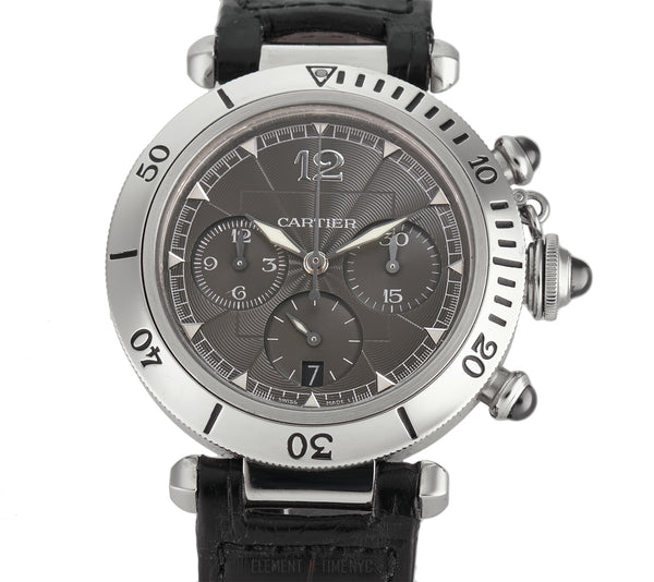 Millennium Edition Chronograph Steel 38mm Grey Dial Platinum Bezel