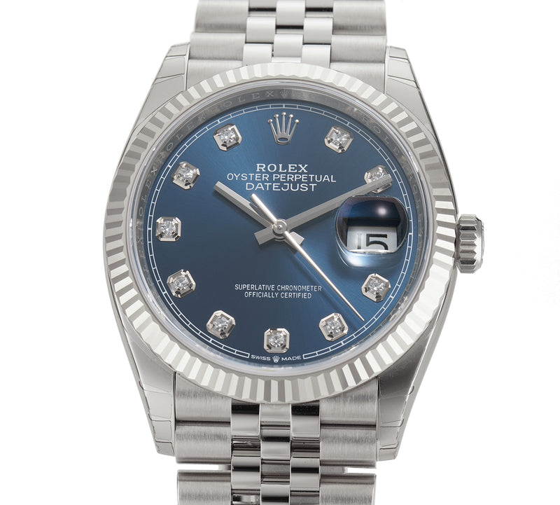 36mm Steel Blue Diamond Dial 18k Fluted Bezel Jubilee Bracelet
