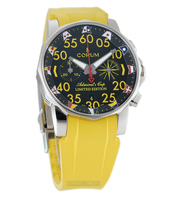 East Coast Jewelry Limited Edition XX/50 Steel 44mm Black Dial Yellow Rubber Strap