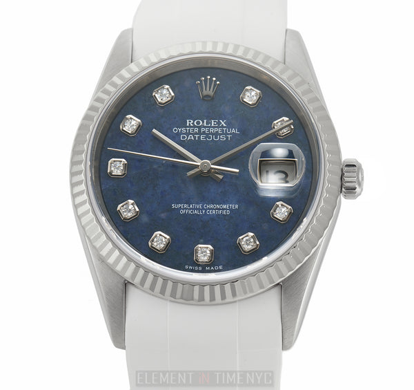 Steel & White Gold Bezel 36mm Sodalite Diamond Dial 2003