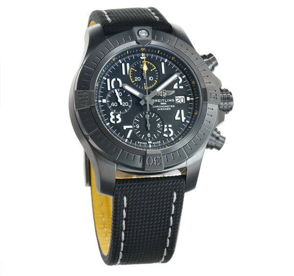 Chronograph 45 Night Mission DLC Coated Titanium Black Dial On Tang Buckle