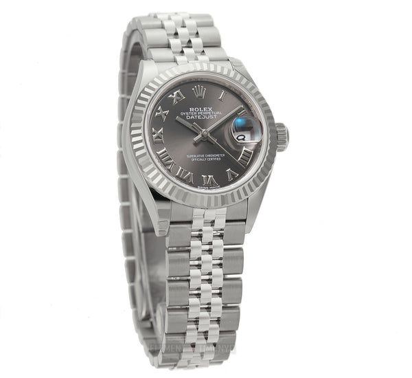 Steel 28mm White Gold Fluted Bezel Dark Grey Roman Dial Jubilee Bracelet