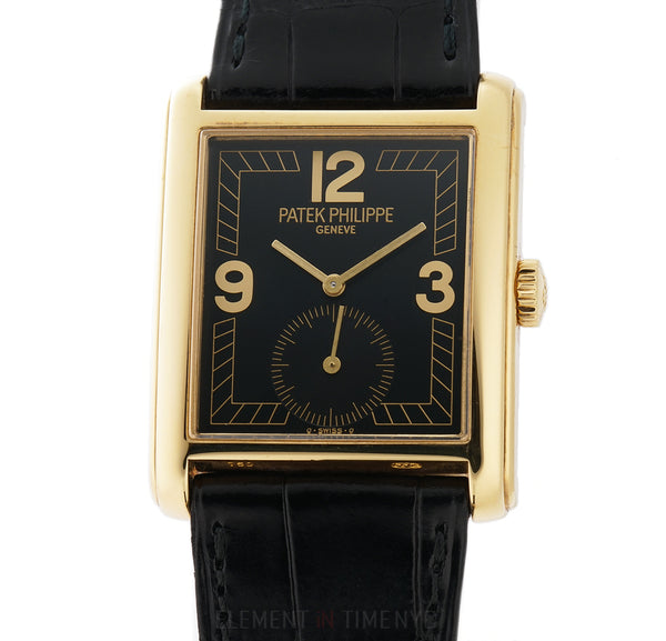 18k Yellow Gold Black Dial Manual Wind