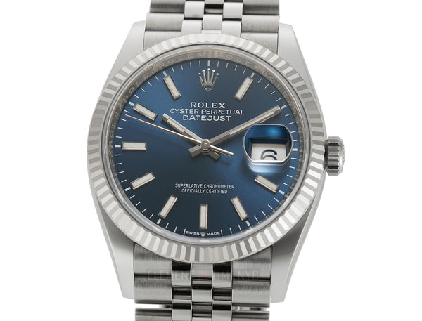 36mm Steel Blue Index Dial 18k Fluted Bezel Jubilee Bracelet  Unpolished 12/2019
