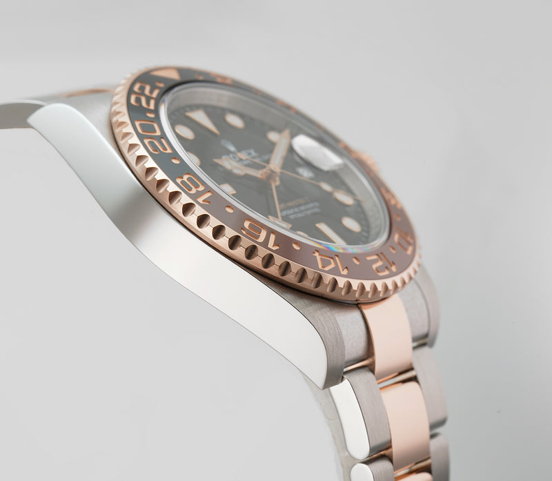 Steel & Everose Gold Root Beer Ceramic Bezel Black Dial
