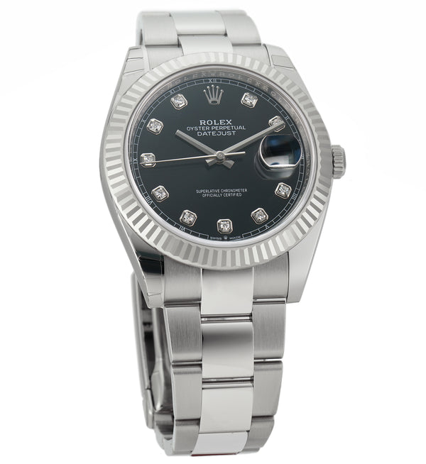Steel 41mm 18k Fluted Bezel Black Diamond Dial Oyster Bracelet