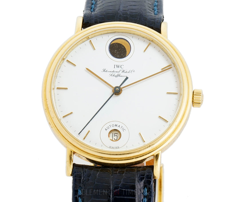 Vintage Moonphase 18k Yellow Gold 34mm White Dial Automatic 1980s