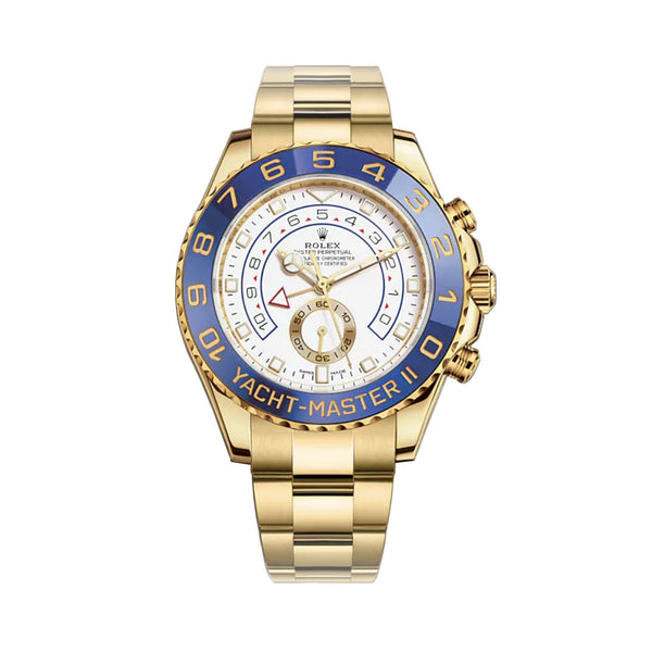 Regatta Chronograph 44mm 18k Yellow Gold Blue Ceramic Bezel White Dial