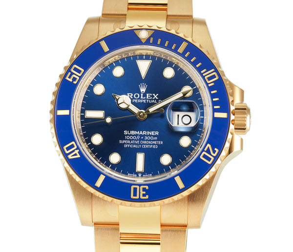 41mm 18k Yellow Gold Ceramic Bezel Blue Dial