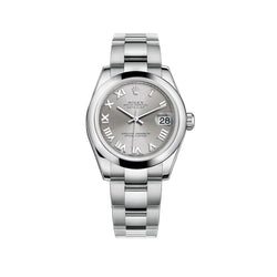 31mm Stainless Steel Rhodium Roman Dial Oyster Bracelet