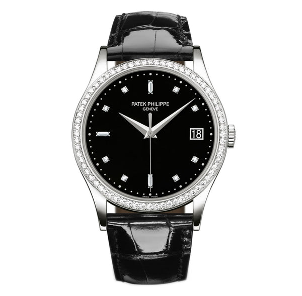 18k White Gold 38mm Diamond Bezel Ebony Black Diamond Dial