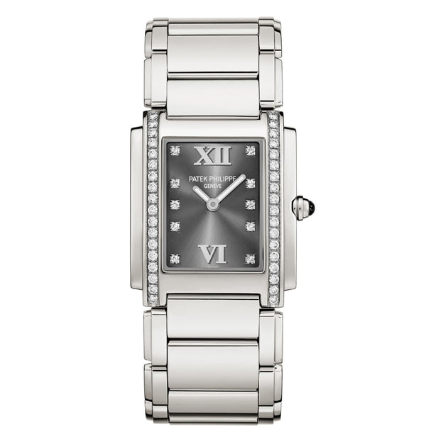 Steel 25mm Diamond Bezel Grey Diamond Dial Quartz