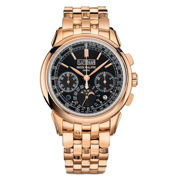 Perpetual Calendar Chronograph 18k Rose Gold 41mm Ebony Black Dial On Bracelet