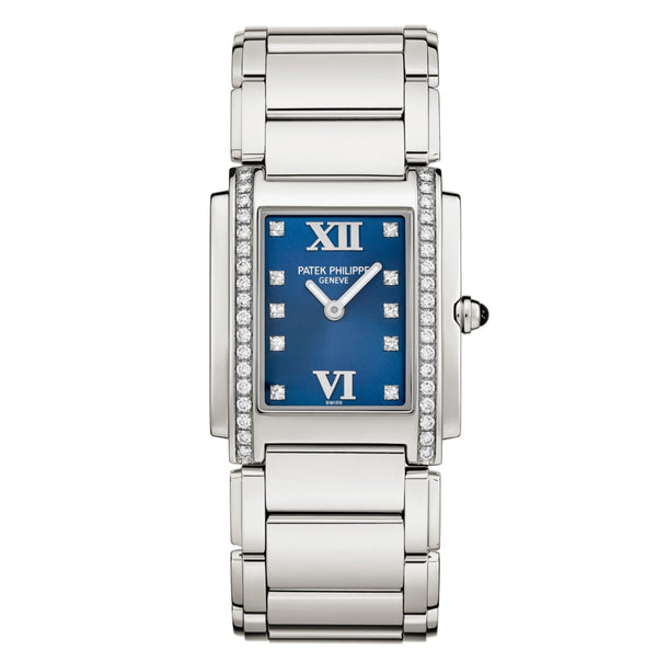 Steel 25mm Diamond Bezel Blue Diamond Dial Quartz