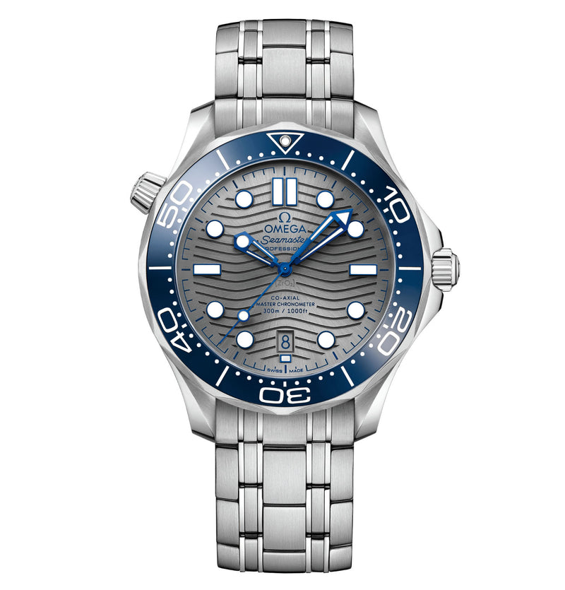 Diver 300m Co-Axial Master Chronometer Blue Ceramic Bezel 42mm Steel Grey Dial