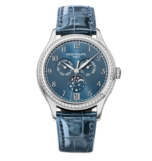 Annual Calendar Moonphase 18k White Gold Diamond Bezel 38mm Blue Dial