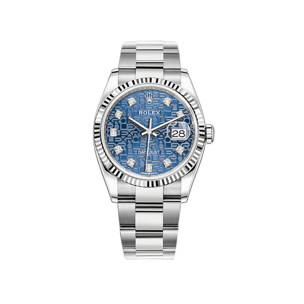 36mm Steel Blue Jubilee Diamond Dial 18k Fluted Bezel Oyster Bracelet