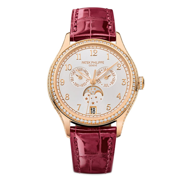 Annual Calendar Moonphase 18k Rose Gold Diamond Bezel 38mm Silver Dial