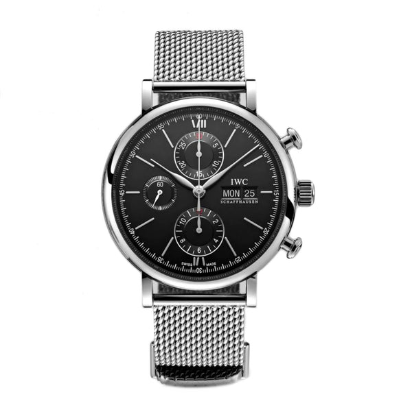 Chronograph Steel 42mm Black Dial On Mesh Bracelet