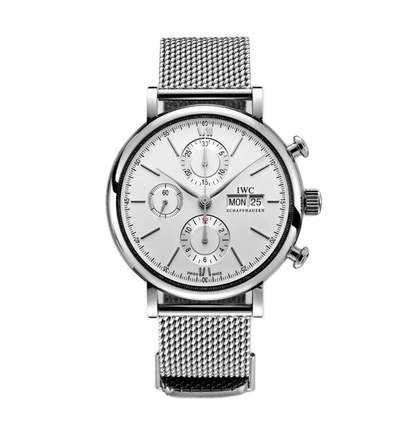 Chronograph Steel 42mm Silver Dial On Mesh Bracelet
