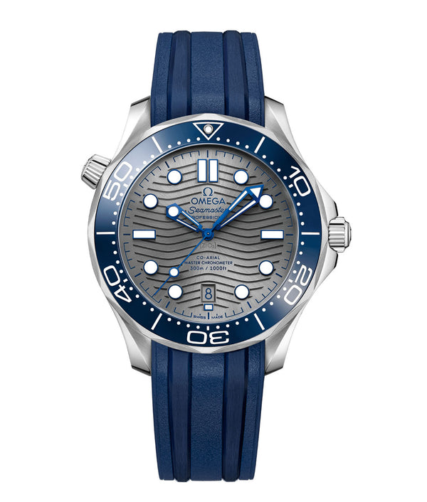 Diver 300m Co-Axial Master Chronometer Blue Ceramic Bezel 42mm Grey Dial On Strap