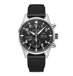 Chronograph Steel 43mm Black Dial On Calfskin Strap