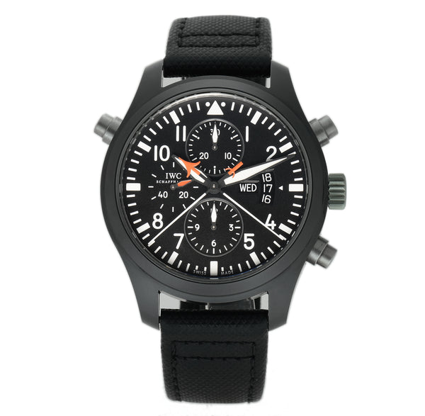 Double Chronograph Top Gun 46mm Ceramic Black Dial