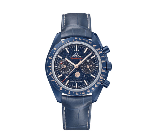 Blue Side Of The Moon 44mm Blue Ceramic Moonwatch Moonphase Chronograph