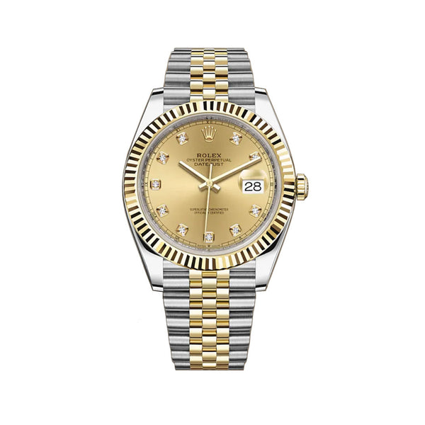 41mm Steel & Yellow Gold Champagne Diamond Dial Jubilee Bracelet