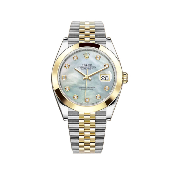 41mm Steel & Yellow Gold White Mother Of Pearl Diamond Dial Jubilee Bracelet